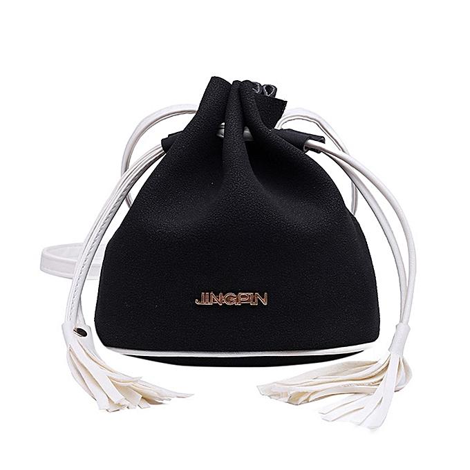 Duoya Girls femmes Retro Female Simple Letter Bag Crossbody Shoulder Bag Handbag- noir à prix pas cher
