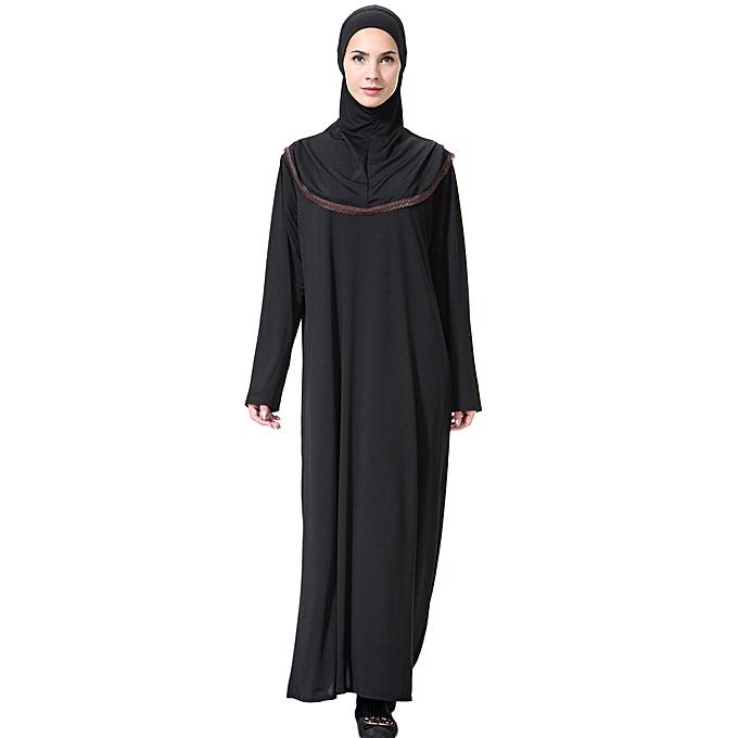 mode (Xiuxingzi) Muslim Maxi Robe Trumpet Sleeve Abaya Long Robe Gowns Tunic Belt à prix pas cher