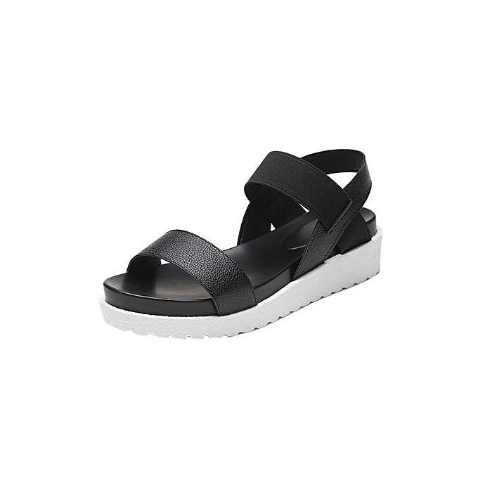 Fashion Jiahsyc Store Fashion Sandals femmes Aged Leather Flat Sandals Ladies chaussures  noir 36-noir à prix pas cher