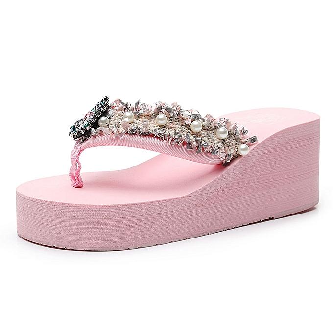 Fashion (Xiuxingzi) femmes Girls Floral Wedges Bohemian Style Flip Flops Sandals Slippers Beach chaussures à prix pas cher
