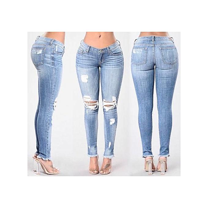 OEM New Fashion Holes Legs Stretch Jeans female Casual pocket skinny pencil jean pants jeans femmes trousers-light bleu à prix pas cher