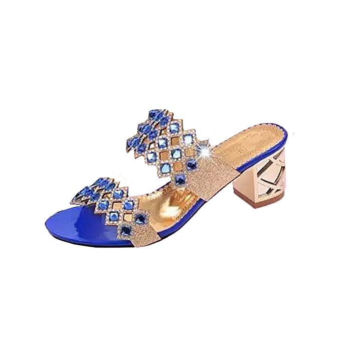 Generic Tcetoctre nouveau été mode femmes Big Rhinestone High Heel Sandals Ladies plage Sandal -bleu à prix pas cher