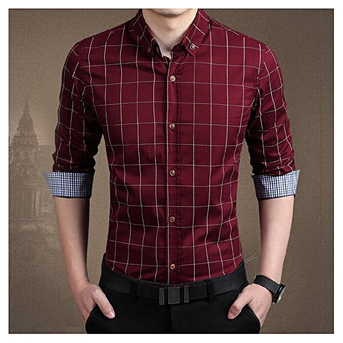 Fashion jiahsyc store  Men's Solid Couleur Slim Plaid Long-Sleeved Shirt rouge L à prix pas cher