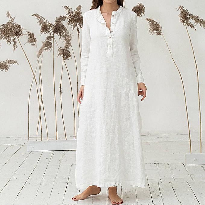 Fashion schoolcool Wohommes Kaftan Cotton Long Sleeve Plain Casaul OverTailled Maxi Long Dress WH XL à prix pas cher