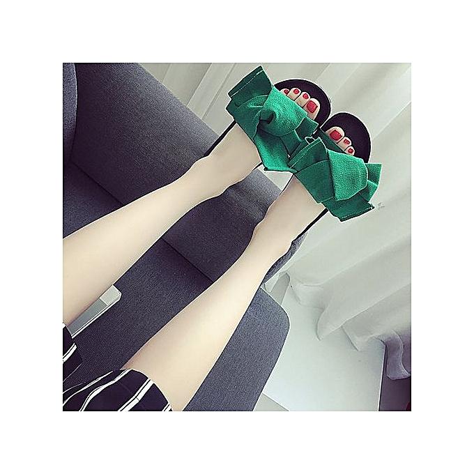 mode Jiahsyc Store été femmes Bow Wedge Sandals plage chaussures Flip Flops Platform Slippers GN 37-vert à prix pas cher