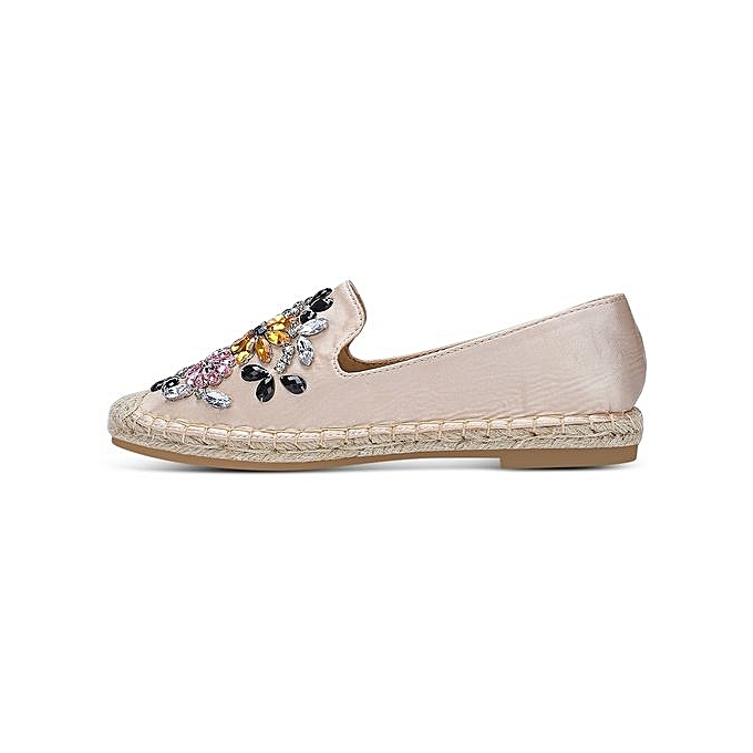 Fashion Round Toe Rhinestone Espadrilles Heel Flat Heel Espadrilles WoHommes  Shoes_APRICOT à prix pas cher    Jumia Maroc 3bcb5f