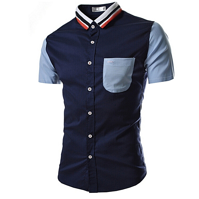 Fashion jiuhap store Men Shirt Fashion Solid Couleur Male Casual Short Sleeve Shirt NY L à prix pas cher