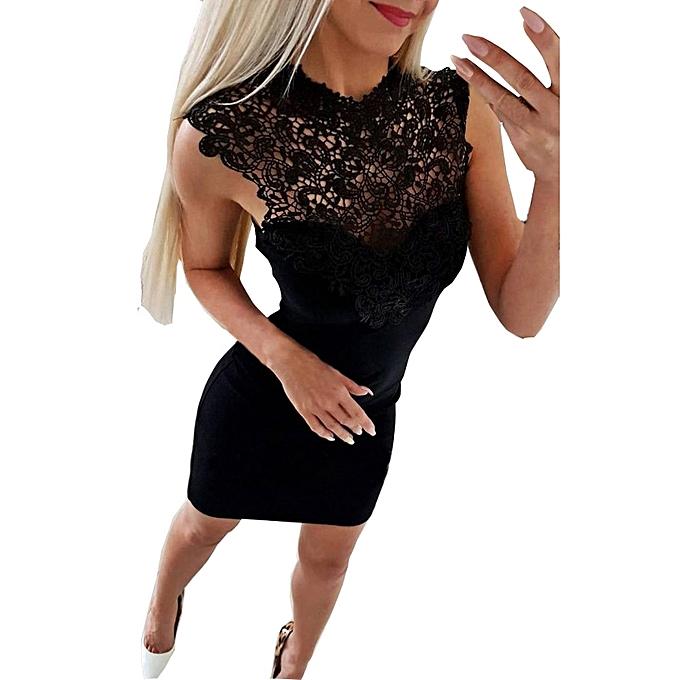 Fashion Sedectres Shop femmes Sleeveless Lace Splice Bodycon Casual Party Cocktail Mini Dress à prix pas cher