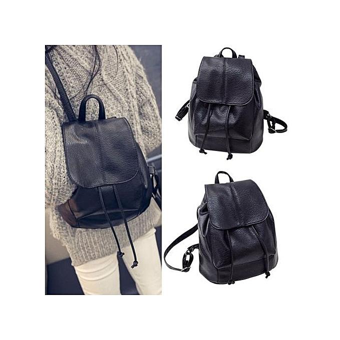 mode Singedanmode femmes cuir Satchel Shoulder sac à dos School sac à dos sacs voyage -noir à prix pas cher