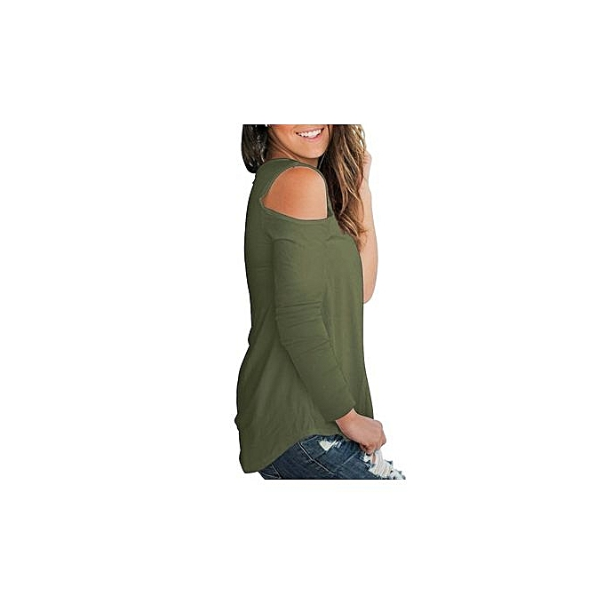 mode Hot Style Western Style femmes& 039;s chemisier V With Bare Shoulder And manche longues Plain Slim T-shirt-ARMY vert à prix pas cher