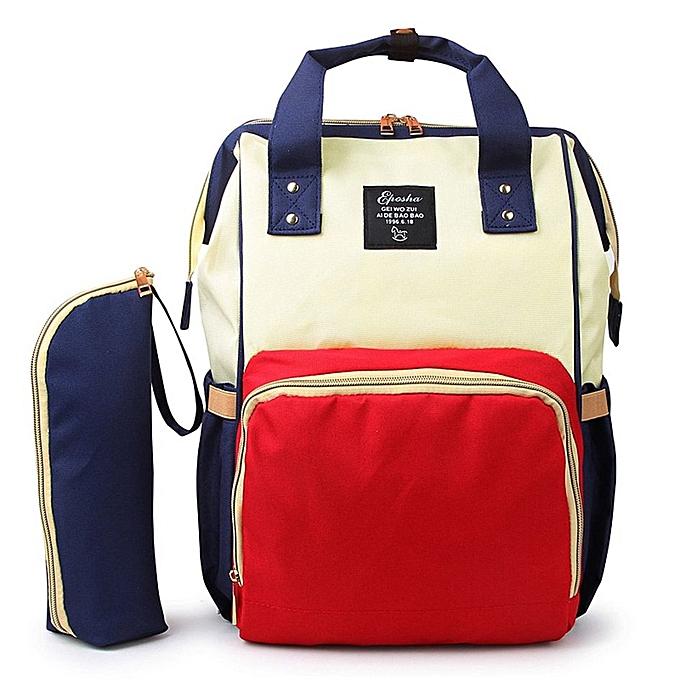 Generic TB 2PCS SET Large Capacity Multifunctional Mommy Backpack Diaper Bag-blanc & bleu à prix pas cher
