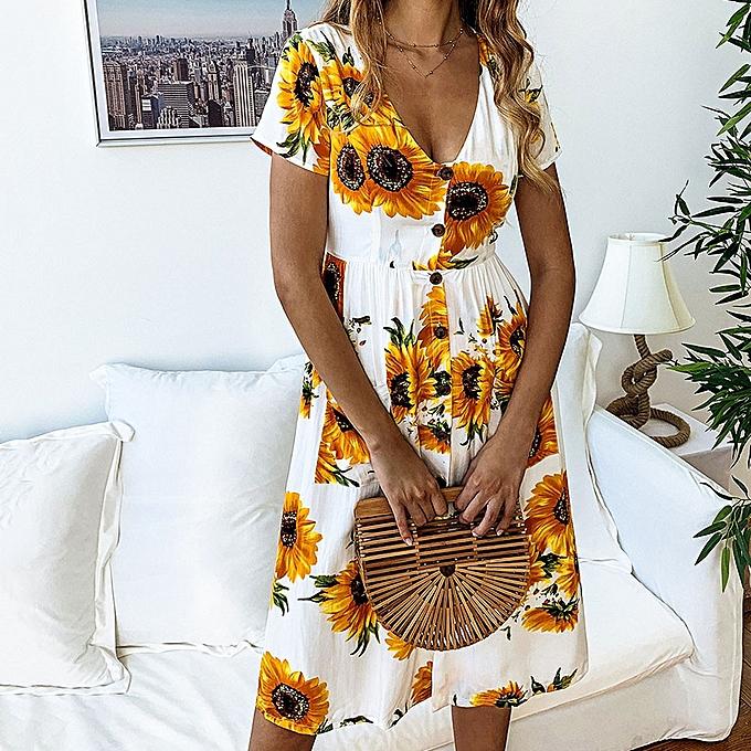 mode jiahsyc store femmes& 039;s Spbague And été mode Décontracté Printed SunfFaibleer Button Female Robe-blanc à prix pas cher