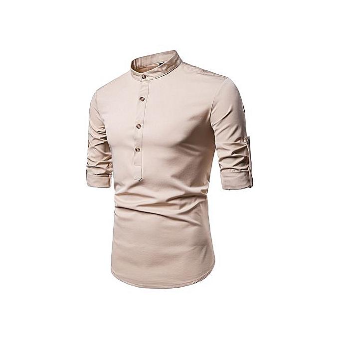 AFankara Men Shirts Short Sleeve Formal Shirts - Coffee à prix pas cher