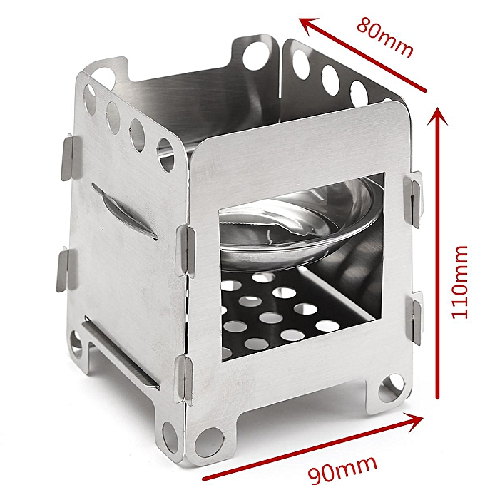 UNIVERSAL Portable Stainless Steel Lightweight Folding Wood Stove Pocket Camping Cooking à prix pas cher