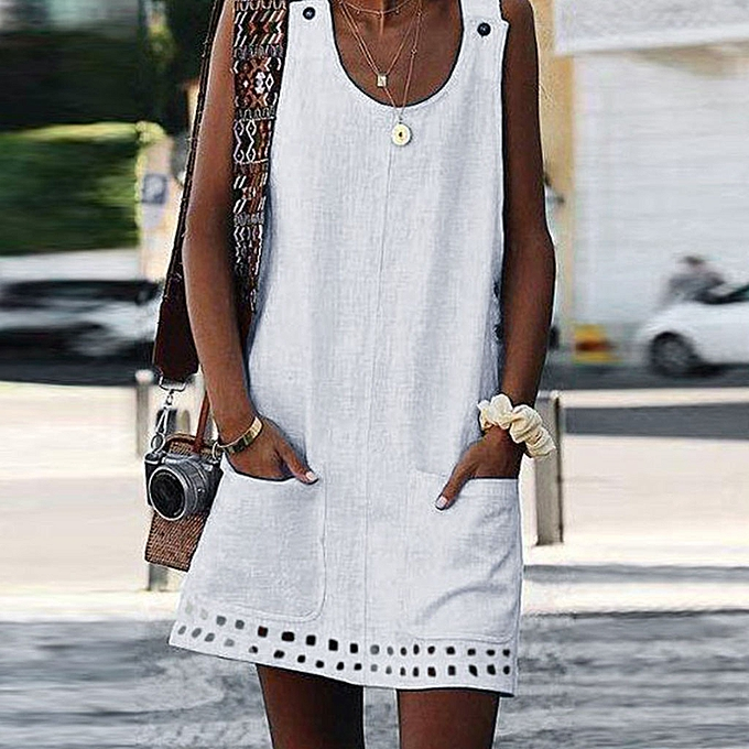 Fashion quanxinhshang femmes Boho Summer Casual Button Pockets Sleeveless Dress Beach Maxi Dress WH L à prix pas cher