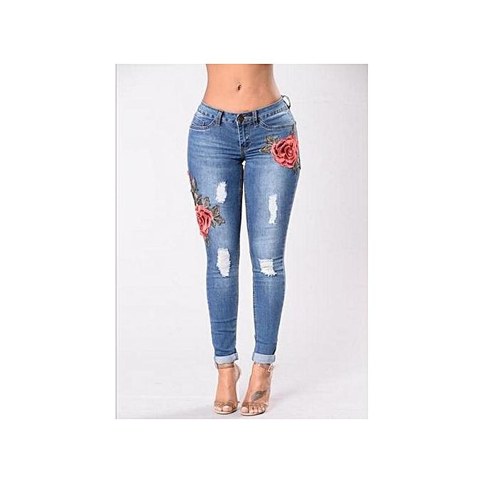 Generic Embroidery Fashion Holes Stretch Jeans female casual pocket skinny pencil jean pants jeans femmes trousers-light bleu à prix pas cher
