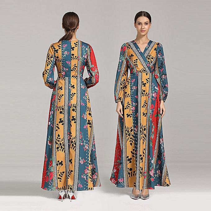 mode Hiamok femmes Muslim National Style Print Robe Bohemian Thin plage  Beauty Robe à prix pas cher
