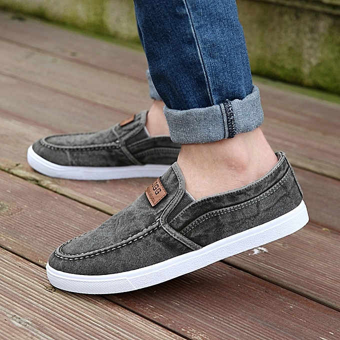 Other Stylish Men's Breathable Flat Canvas chaussures Loafers Driving chaussures-gris à prix pas cher
