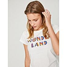t shirt imprim 100 coton blanc - Fabriquer Un Meuble Tv2533