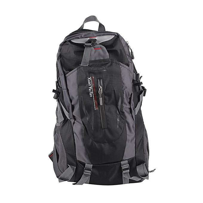 Generic TB Large Capacity Nylon Unisex Travel Backpack Waterproof Hiking Camping Rucksack-noir à prix pas cher