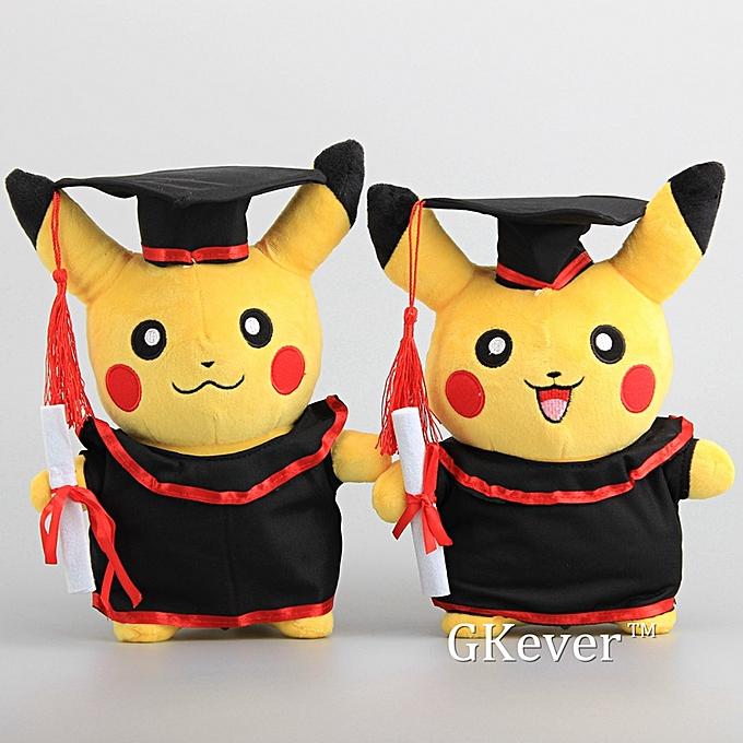 Autre nouveau  Pikachu with Graduate Clothes Cosplay Stuffed Dolls Cute Rilakkuma Graduate Gift Plush Toys 11  27CM(Close Mouth Pikachu) à prix pas cher