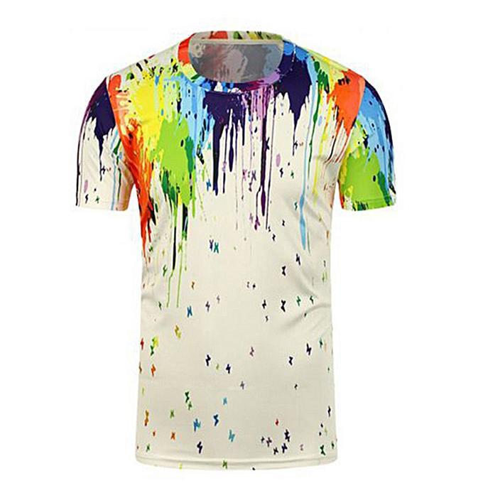 mode Pour des hommes Graffiti 3D impression Tees Shirt manche courte T-Shirt chemisier hauts -blanc à prix pas cher