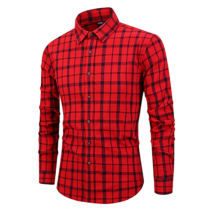 Fashion Men's clothing - autumn and winter Japanese hommes shirt new Couleur spinning cotton washed plaid long-sleeved shirt male-rouge à prix pas cher