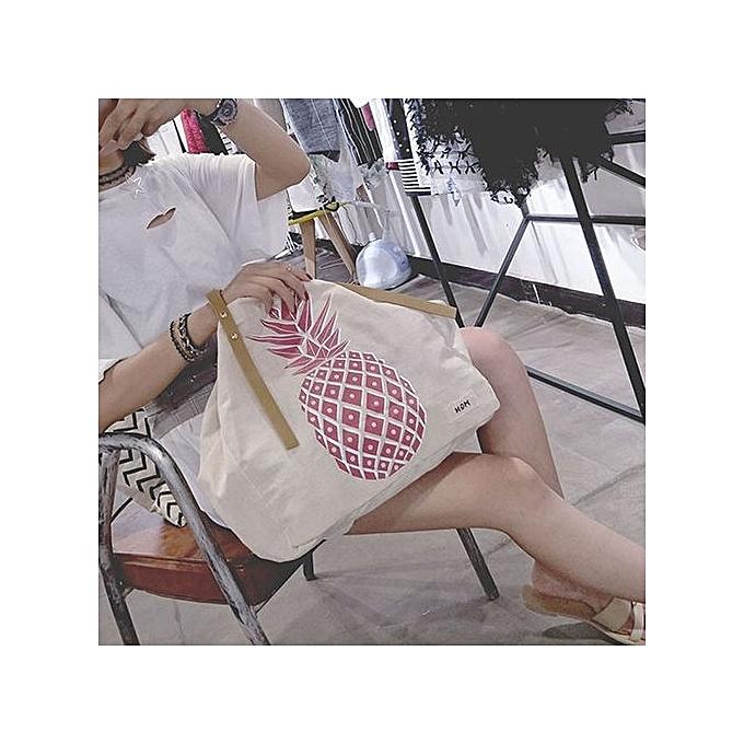 nouveauorldline femmes nouveau mode toile Pineapple Print Handsac Shoulder sacs Tote PK-rose à prix pas cher