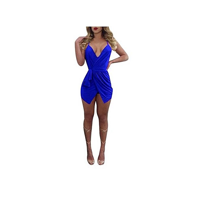 Eissely femmes Sexy  V-neck Brought Jumpsuit  Conjoined Shorts Playsuit BU L-bleu à prix pas cher