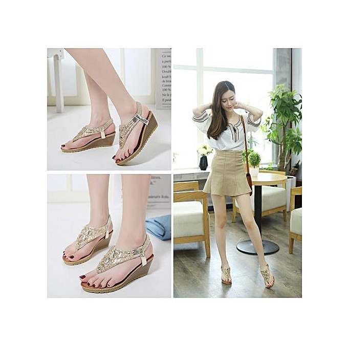 mode grand Taille Bohemian wedge sandals rhinestone flip flops femmes sandals-or à prix pas cher