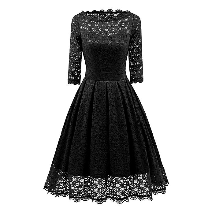 Fashion femmes Round Neck Floral Lace Dresses Bridesmaid Party Cocktail Prom Dress noir à prix pas cher
