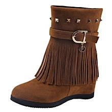 df2e52aab18b Jiahsyc Store Platform Wedge Heel Tassel Women Shoes Increased Platform  Fashion Casual Boots-Brown
