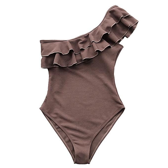 Other Falbala One-piece maillot de bain femmes marron Ruffle One-shoulder Monokini Girl Solid plage Bathing Suit maillot de bain(marron) à prix pas cher