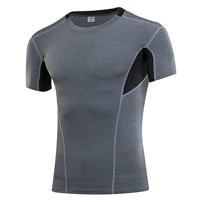 Other New Stylish Men's Short Sleeve Stretch Fitness Running T Shirt-gris à prix pas cher