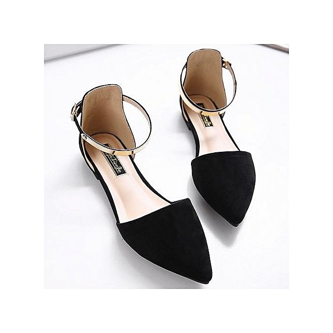 Fashion 2017 Wohommes Pointed Toe Ankle Strap chaussures Ballet Flats Spring Casual Sandals noir à prix pas cher    Jumia Maroc