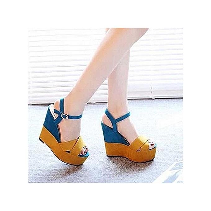 OEM Ladies Mixed Couleurs Buckle Peep Toe Wedges Casual Loafers Sandals chaussures-jaune à prix pas cher