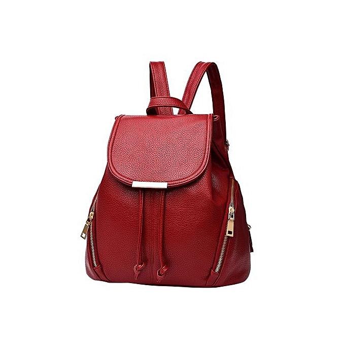 Fashion Singedan Fashion School Leather Backpack Shoulder Bag Mini Backpack For femmes & Girls  -wine à prix pas cher