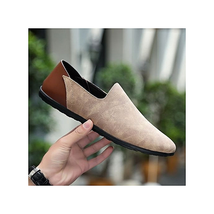 Fashion  s Suede Leather Loafer Loafer Leather Soft Driving Shoes Plus Size-Light Brown à prix pas cher  | Jumia Maroc 070039