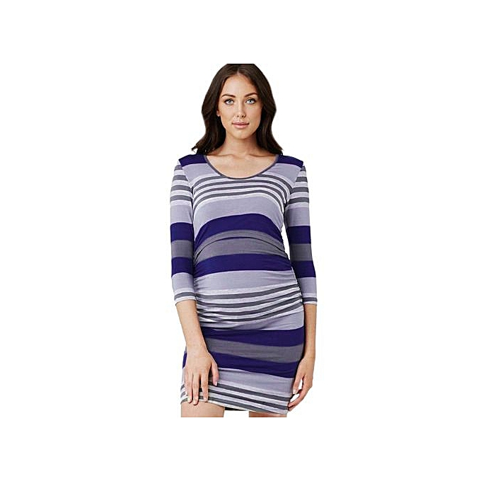 Fashion Tectores femmes Mom Pregnant Nursing Baby Maternity Striped Long Sleeve Dress Clothes à prix pas cher