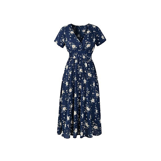 Fashion Xiuxingzi femmes Casual Short Sleeve V Neck Printed Maxi Dress With Belt à prix pas cher