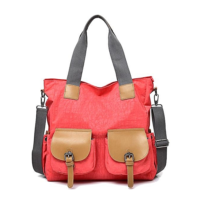 Fashion femmes Nylon Front Pockets Tote Handbags Casual Shoulder Bags Capacity Shopping Crossbody Bags  rouge à prix pas cher