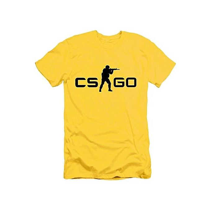 BleuLife Hommes Counter Strike CS GO O-neck T-shirts -jaune&noir à prix pas cher