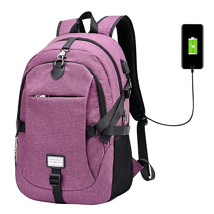 mode Tcetoctre 2017 Male Oxford Multifunction USB charging sac à dos College School sac à dos-violet à prix pas cher
