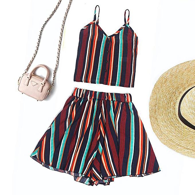 Generic Generic Sexy femmes Striped Shirt Sleeveless Vest Blouse + Shorts Two-Piece Outfit A1 à prix pas cher