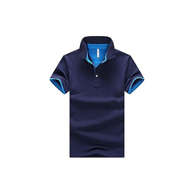 Fashion Men's Polo Shirt Summer Short-sleeved Polo Shirt Breathable Casual Cotton Polos Shirt Male Slim Edition Polo-navy bleu à prix pas cher