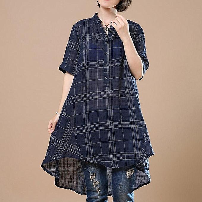 Zanzea ZANZEA Longs Chemises à carreaux à carreaux Chemises femmes Hauts asymétriques à hommeches courtes à prix pas cher
