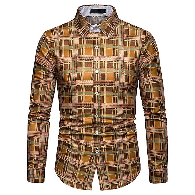 mode Hommes& 039;s Spbague nouveau Affaires spbague and autumn plaid Décontracté long-sleeved shirt C469-multi à prix pas cher