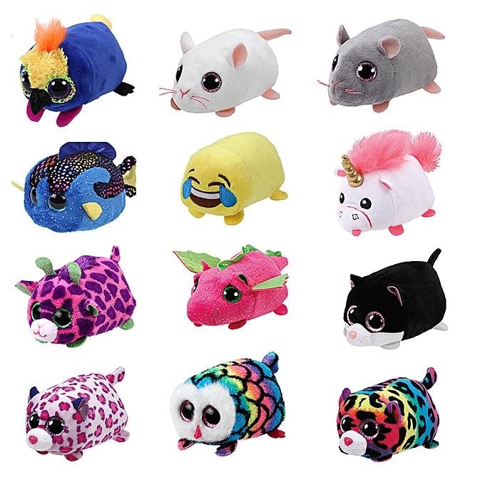 Autre 10CM Mini  Ty Plush Toys Beanie Boos Big Eyes fox unicorn Pocket TSUM Candy pig Stuffed  Doll rose Owl TY   Enfants Gift(Flamingo) à prix pas cher