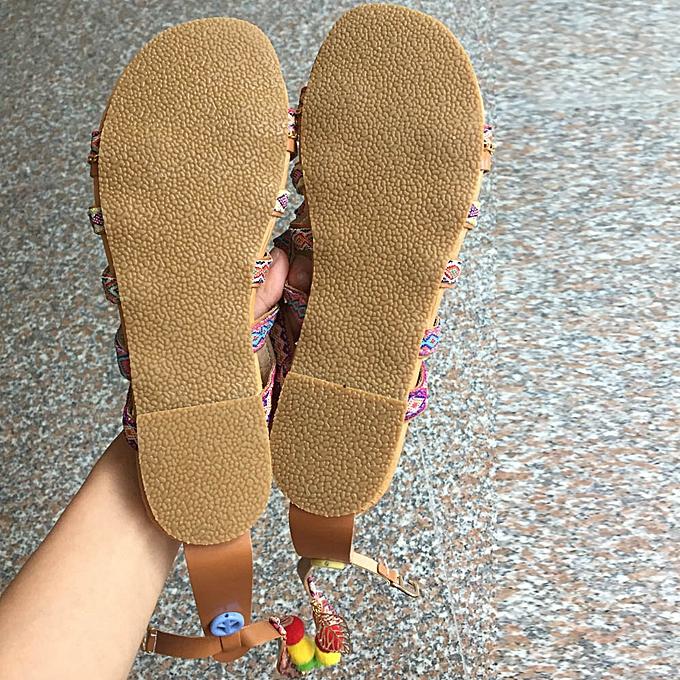 Fashion femmes Bohemia Sandals Gladiator Leather Sandals Flats chaussures Pom-Pom Sandals à prix pas cher
