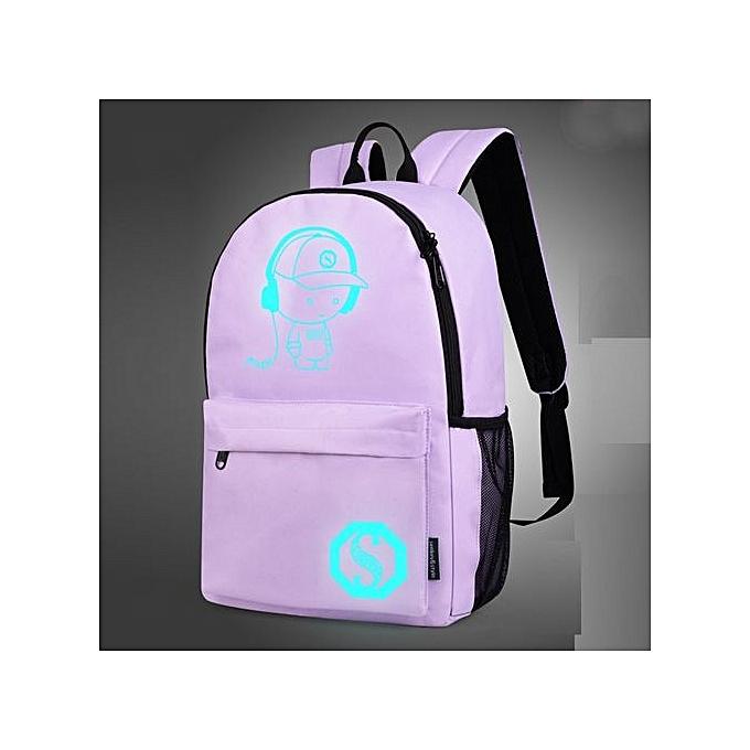 nouveauorldline Unisex lumière Preppy Teenagers Noctilucent voituretoon School sacs Student sac à dos - violet à prix pas cher